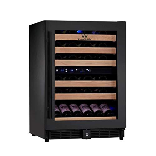 KingsBottle 24 Inch Wide 46 Bottle Dual Zone Wine Cooler BORDERLESS Black Glass Door Under Counter Energy-Efficient Wine Fridge