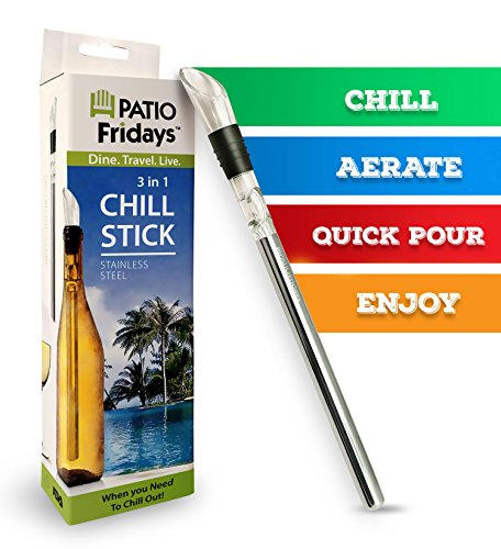 Iceless Wine Chiller Stick by Patio Fridays Deluxe 3 in 1 Stainless Steel Wine Bottle Chiller Stick with Aerator and Pourer for chilling pouring and aerating wine keeps your wine chilled longer