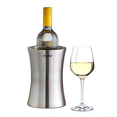 VonShef Stainless Steel Wine Cooler Double Walled Wine Bottle Chiller Holder
