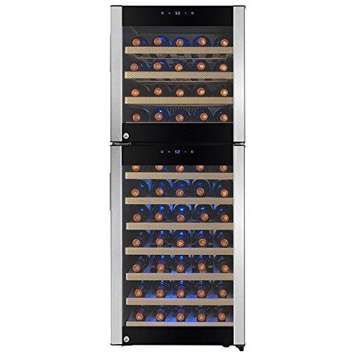 FIREBIRD 73 Bottles Dual Zone Stainless Steel Door Built-in Compressor Freestanding Electric Wine Cooler Chiller Refrigerator w Touch Control