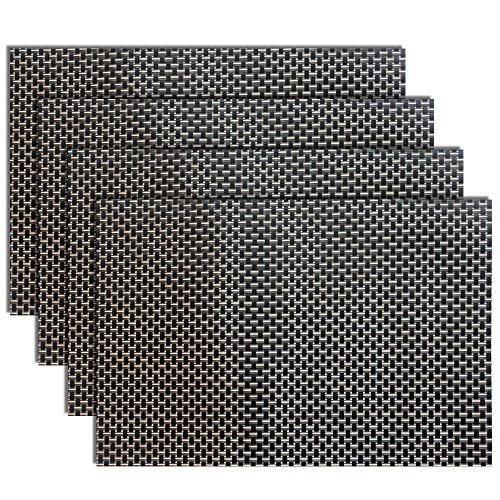 Placemats Heat-resistant Placemats PVC Placemats Woven Vinyl Placemats Easy-Care Durable Non-slip Table MatsSet of 4Blackgold