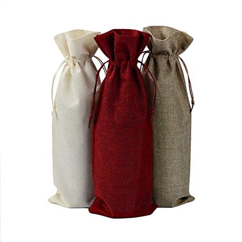 Meetbelify Home Wine Bottle Bag Party Decoration Hostess Gifts Bag Burlap Bag 3 packs