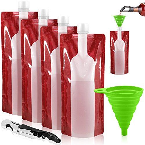 Foldable Wine Bag 750 ml Portable Reusable Plastic Wine Bottle Pouch SENHAI 4 Pack Collapsible Liquid Leak Proof Flask Holder for Wine Liquor Beverages Travel Gift - Red