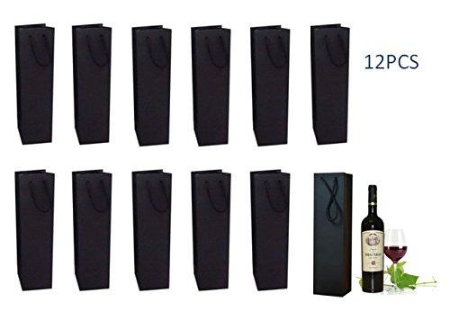 jenifer2015 Wine Gift Bags- Single Bottle Wine Alcohol Liquor Spirits Bag -Red Wine Bag Holder12 Piece Set Black