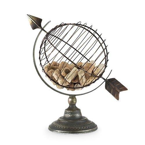 Decorative Cork Holder Old World Globe Display Rustic Wine Cork Holder Decor