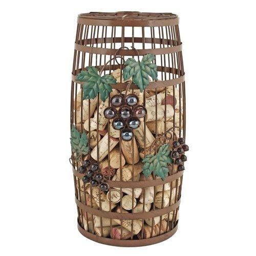 Decorative Wine Cork Holder Grapevine Iron Barrel Metal Rustic Cork Holder