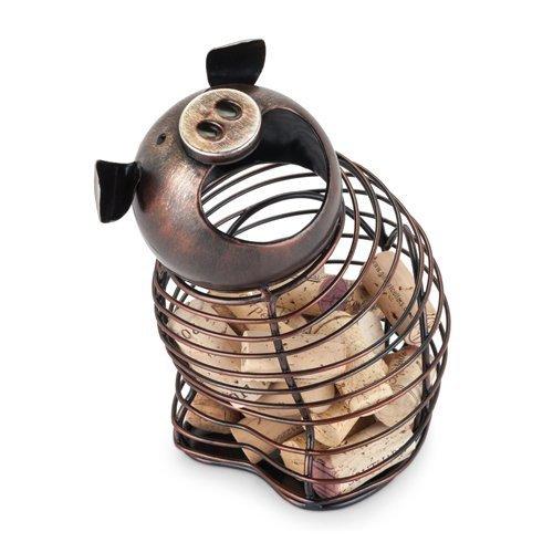 Metal Wine Cork Holder Oink Pig Tabletop Decorative Rustic Animal Cork Holder