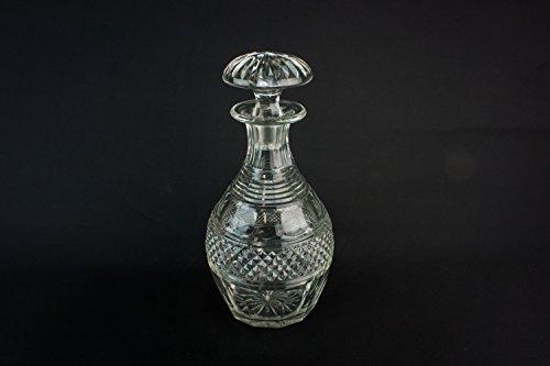 Georgian Cut Glass Crystal Port DECANTER Sherry Wine Antique CARAFE Large Hobnail Serving Barrel 1830s LS
