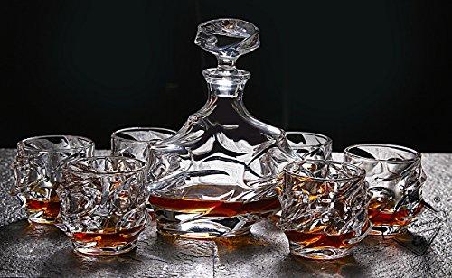 Diy Family Store 7-Piece Everest Whiskey Decanter Set Scotch Decanter with Stopper 305oz - Unique Elegant Dishwasher Safe Glass Liquor Bourbon Decanter Ultra - Clarity Glassware