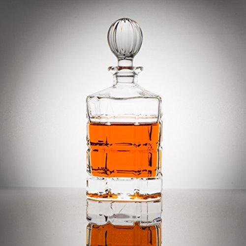Lead-Free Whiskey Decanter in Leather Gift Box by Hampden Manor the Dorchester Scotch Decanter  27 Oz  800 ML - Unique Elegant Dishwasher Safe Glass Liquor Bourbon Decanter Ultra-Clarity Glassware
