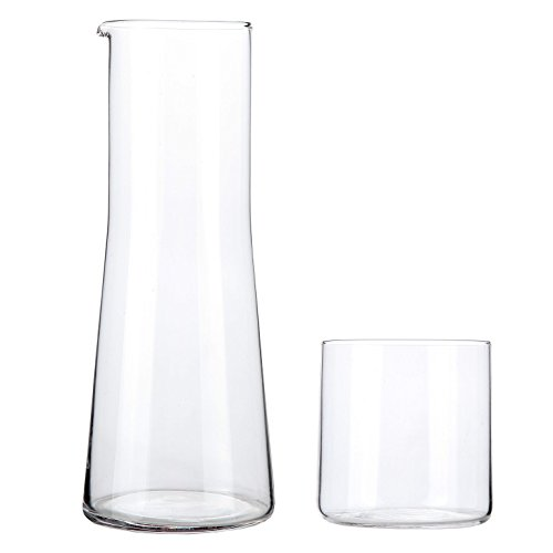 Lilys Home Water Decanter with Glass Bedside Night Carafe With Tumbler Glass