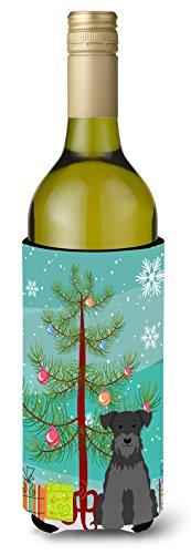 Carolines Treasures BB4176LITERK Merry Christmas Tree Miniature Schnauzer Black Wine Bottle Beverage Insulator Hugger 750ml Multicolor