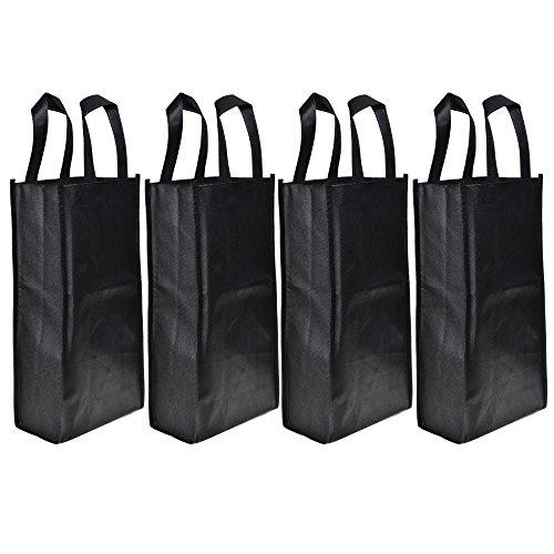 Cosmos  4 Pack Non-Woven 2-Bottle Wine Tote Bag Holder Reusable Gift Bag - Black