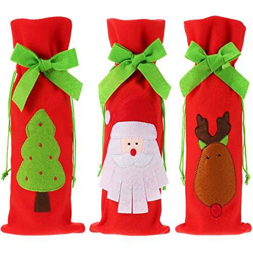 Pangda 3 Pieces Christmas Wine Bottle Bag Christmas Gift Holder Drawstring Pouch Santa Deer Christmas Tree Wine Bottle Cover Holder
