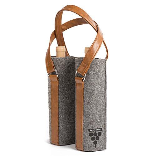 Carpe Vino Felt Vegan Leather Double Bottle Wine Bag - Charcoal Brown Tote