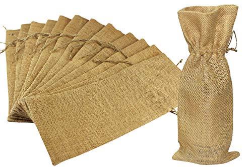 COTTON CRAFT - 12 Pack Jute Burlap Wine Bag Set - Natural - Wrap Your Wine in The Rustic and Natural Style of Natural Jute Burlap