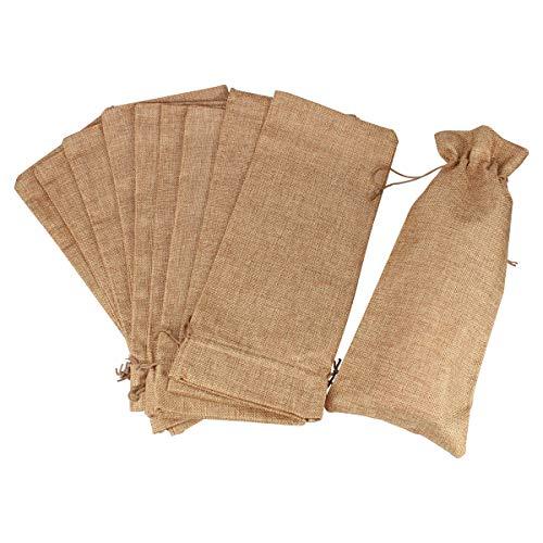 Jute Wine Bags Burlap Wine Bag 12 Packs Champagne Bottle Bags Wine Bottle Protector for Travel Wedding Birthday