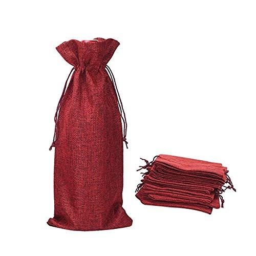 Jute Wine Bags Wine Bags Burlap Wine Bag 12 Packs Champagne Bottle Bags Wine Bottle Protector for Travel Wedding Birthday(Red)