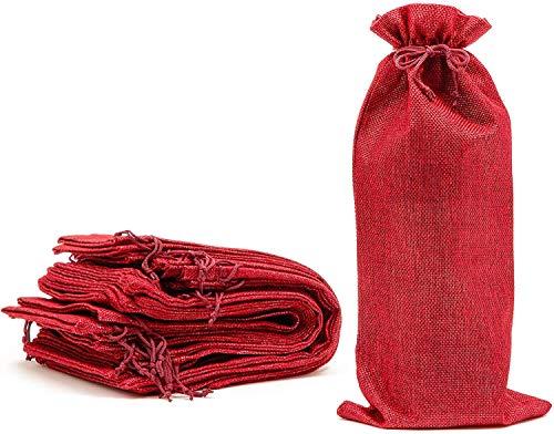 Reusable Jute Burlap Wine Bags with Drawstring Red 12-Pack