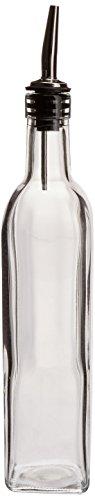 16 Oz Ounce Oil Vinegar Cruet Square Tall Glass Bottle wStainless Steel Pourer Spout