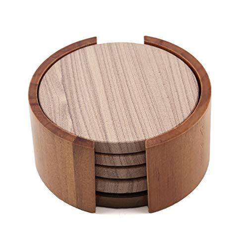 Thirstystone TS6-H2 Sandstone Wood Coaster 4 inch round Cinnabar wHolder