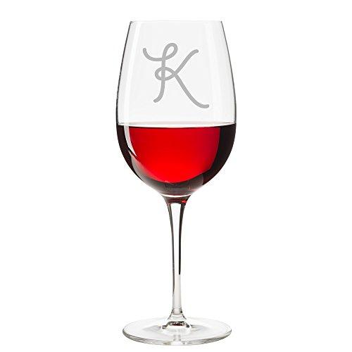 Giddyup Script Initial Wine Glass Letter K - 4pcs