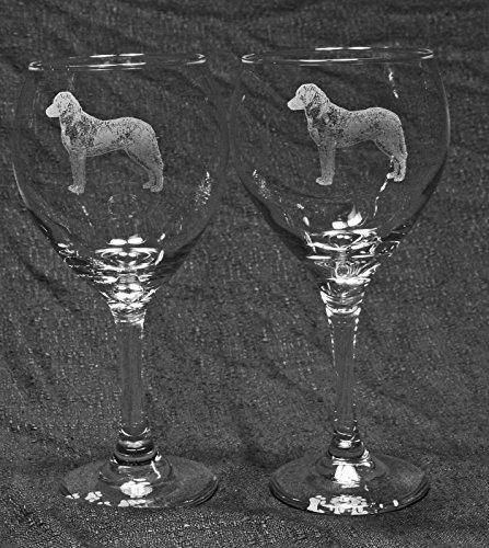 Chesapeake Bay Retriever Dog Laser Etched Red Wine Glass Set 2 20RW