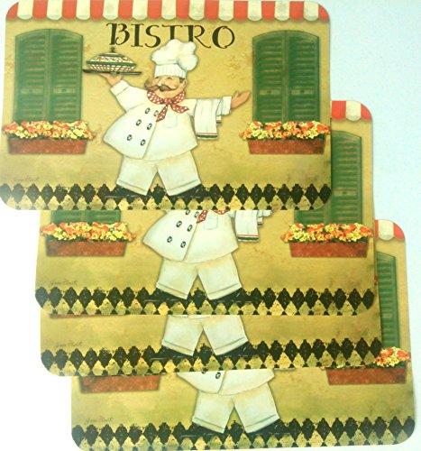 Fat Chef  Bistro  Cafe Plastic Placemats - 4 Pieces