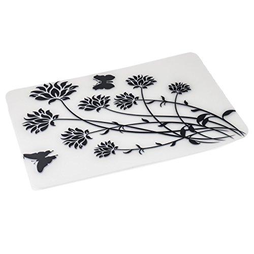 Placemats Set of 6 Unique Design Art Painting Waterproof Washable Plastic Vinyl Table Mats with 6 pcs Coasters Black Flowers