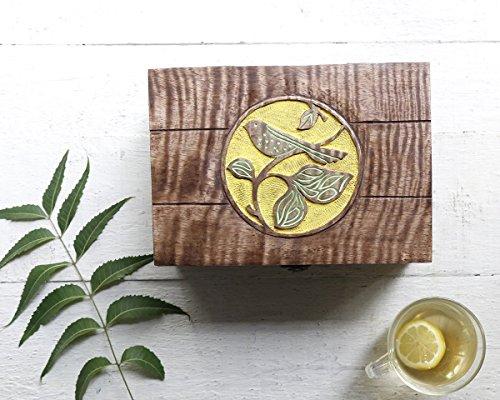 Handmade Wooden Tea Box Teabags Holder Chest Organizer with 6 Compartments Storage Box with Bird Design
