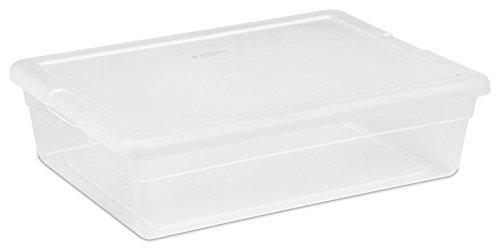Sterilite 16558010 28 Quart 27 Liter Storage Box White Lid w Clear Base 5-Pack