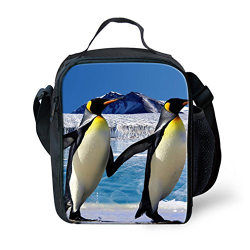 KIds Insulated Lunch Bags For Food Children 3D Penguin Lunch Tote Container With Shoulder Strap For School