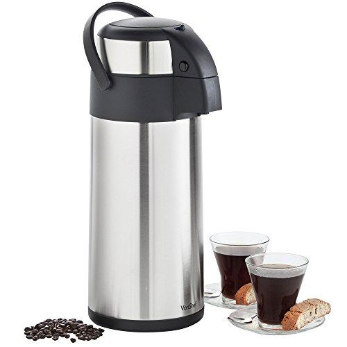 VonShef Thermal Airpot Carafe Coffee Beverage Dispenser Stainless Steel Large 5 Liter or 170 fl oz Capacity 07177
