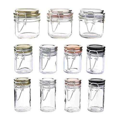 11 Piece Storage Jar Set in ClearCopperChromeOnyx