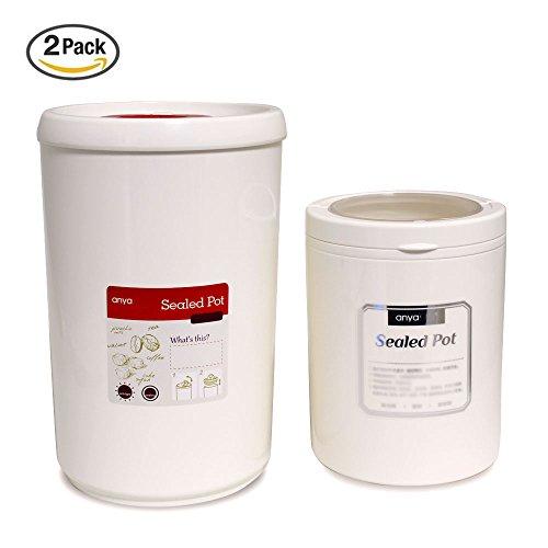 2 PCs Airtight Canister Set Samshow Food Storage Container BPA-Free Airtight Food Storage Jar White 1each 45oz 23oz