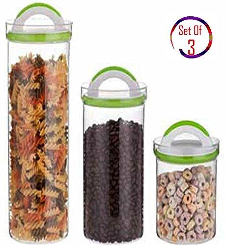3 Pcs Round Borosilicate Glass Rainbow Food Storage Jar Set with Adjustable Airtight Lid