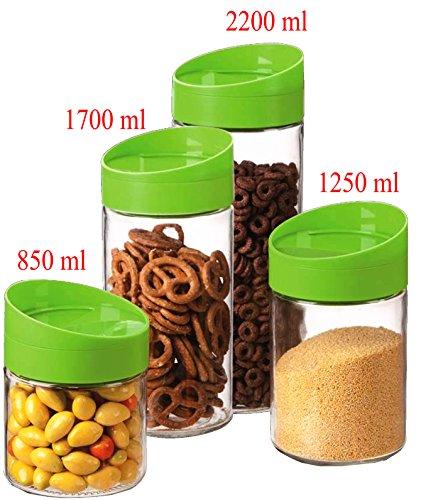4 Pcs Glass Food Storage Jar Canister Set Plastic Lid  Tight Seal Lids Space Saver