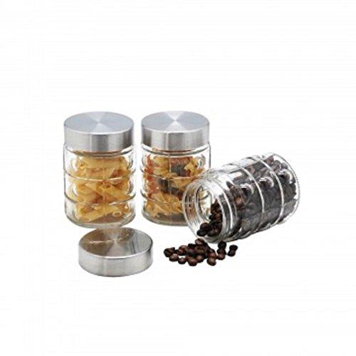 Modern Glass Food Storage Jar Set Storing Spices Coffee Tea Sweeteners More