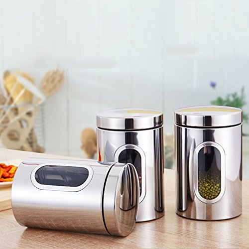 Stainless Steel Kitchen Canister Set Food Storage Jar Flour Sugar Tea Coffee3 Silver