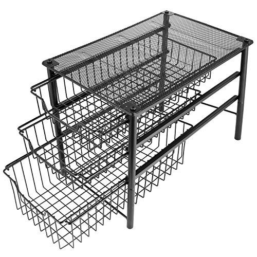 3S Stackable 3 Tier Sliding Basket Organizer Drawer Cabinet Storage Drawers