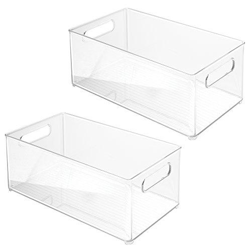 InterDesign Refrigerator or Freezer Storage Bin – Food Organizer Container for Kitchen - Deep Drawer Clear Set of 2