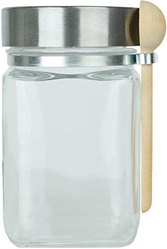 8 oz Glass Jar with Spoon Chrome Screw-Top Lid