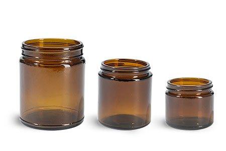 8 oz Glass Jars Amber Glass Straight Sided Jars 36 Jars - NO CAPS
