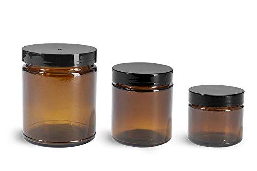 8 oz Glass Jars Amber Glass Straight Sided Jars w Black Smooth Lined Caps 12 Jars