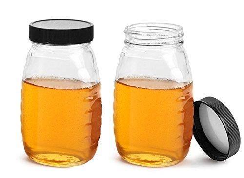 8 oz Glass Jars Clear Glass Honey Jars w Ribbed Black Lined Caps 24 Jars