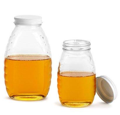 8 oz Glass Jars Clear Glass Honey Jars w White Metal Plastisol Lined Caps 24 Jars