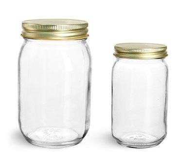 8 oz Glass Jars Clear Glass Mayo Economy Jars w Gold Metal Plastisol Lined Caps 12 Jars