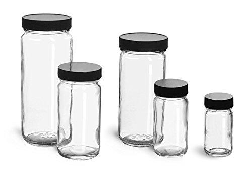 8 oz Glass Jars Clear Glass Paragon Jars w Lined Black Ribbed Plastic Caps 24 Jars