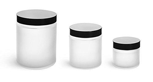 8 oz Glass Jars Frosted Glass Straight Sided Jars w Black Phenolic Lined Caps 24 Jars