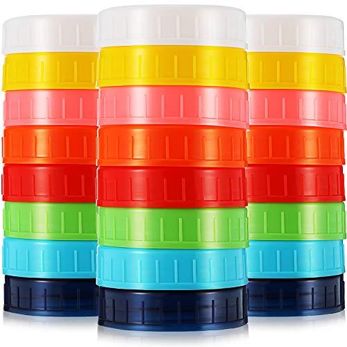 Blulu 24 Pieces Colored Plastic Mason Jar Lids Canning Jar Lids 70 mm Regular Mouth Lids for Plastic Storage Caps for MasonCanning Jars - Anti-Scratch Resistant Surface
